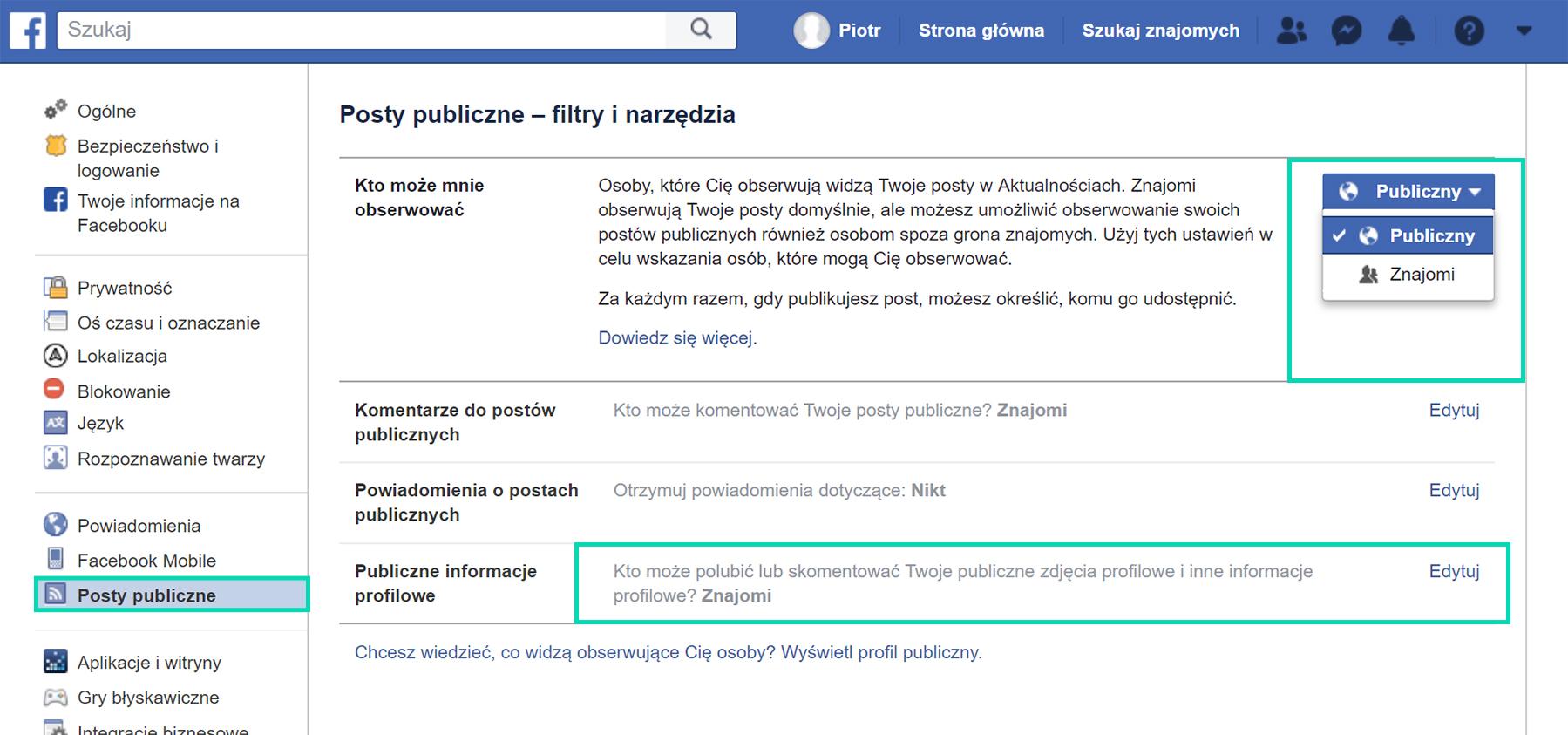 Zmiana ustawień prywatności na Facebooku z komputera
